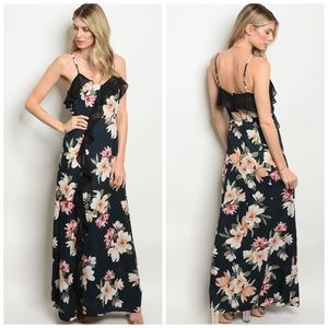 Maxi Dress in Black with Flower Print